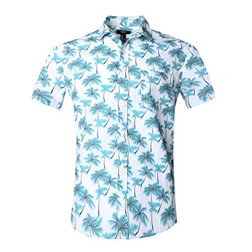 NUTEXROL Hawaiian Shirts Mens Bamboo Print Beach Aloha Party Holiday print1 XL by NUTEXROL