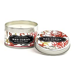Michel Design Works Soy Wax Candle, Travel Tin Size, Red Coral