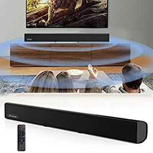 Soundbar, TV Sound Bar Wired and Bluetooth Wireless Audio Speaker(80 Watt, 38-Inch, 4 Speakers,2 Bass Reflect Tubes, Remote/Touch Control, Wall Mountable, Model A13, Great for TVs, PC, Projectors)