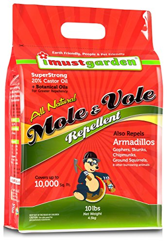 I Must Garden Mole/Vole Repellent - 10lb Granular: Super Strong - 20% Castor Oil, All Natural Formula - Effective Year-Round - Also Repels Armadillos, Gophers, and Skunks