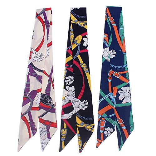 Uainhrt 3pcs Chain Belt Floret Pattern Bag Handbag Handle Ribbon Scarf Hair Head Band Neck Scarf Neckerchief Scarf Fashion Gifts ()