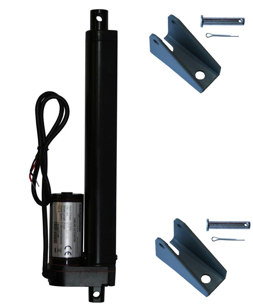 WINDYNATION 8 Inch 8'' Stroke Linear Actuator 12 Volt 12V 225 Pounds lbs Maximum Lift (Includes Mounting Brackets)