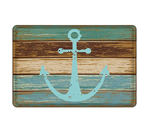 Michael Nautical Print (Vipsung Retro Nautical Anchor Flannel Microfiber Bathroom Shower Accent Rug - Turquoise and Brown Non-slip Soft Absorbent Bathroom Kitchen Floor Mat Carpet)