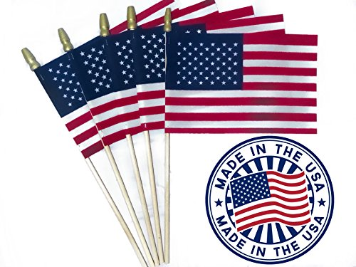 "Andi & Nic Creations Handheld Small American Flag Set of 12 Made in The USA Mini American Stick Flags 4""x6"" with Spear Top – Rainproof, Vivid Color US Flags Ideal ()"