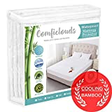 King Size Cooling Hypoallergenic Waterproof Mattress Protector Pad Cover,Bamboo Terry Top Breathable Fitted Sheet Style Deep Pocket-Noiseless,Vinyl,PVC Free
