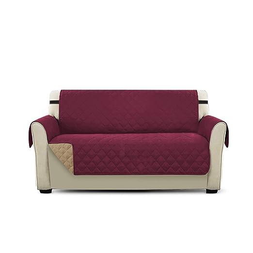 PETCUTE Cubre para Silla Fundas de Sofa Protector de sofá o sillón, Dos o Tres plazas Vino Rojo 2 plazas
