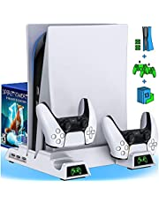 BEBONCOOL PS5 Stand with Cooling Fan, PS5 Cooling Station with Dual Controller Charger Station for Playstation 5 Console, PS5 Cooling Stand with 13 Game Slots for Playstation 5 PS5 Accessories White