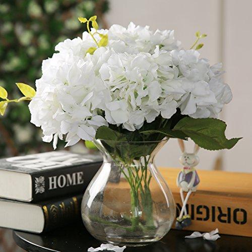 Luyue 5 Big Heads Artificial Silk Hydrangea Bouquet Fake Flowers Arrangement Home Wedding decor (Cream)