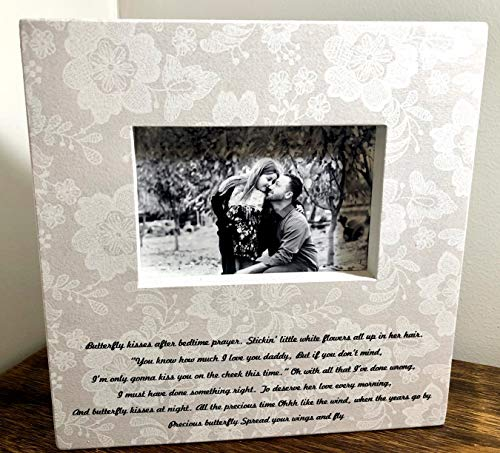 Butterfly Kisses Lyric Gift for Father of the bride Gift for Daddy Wedding Picture Frame Father's Day Gift Gift for Dad from Daughter