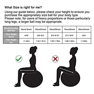 Exercise Ball (45-85cm) EXTRA THICK Yoga Ball Chair, Anti-Burst Heavy Duty Stability Ball Supports 2200lbs, Birthing Ball with Quick Pump (Office & Home & Gym) by Trideer
