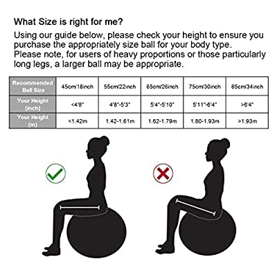 Trideer 45-85cm Exercise Ball, Birthing Ball, Ball Chair, Yoga Pilate Fitness Balance Ball with Pump Plug Kit, Anti-Slip & Anti-Burst, 2000lbs Extra Thick Core Cross Training Ball for Office and Home
