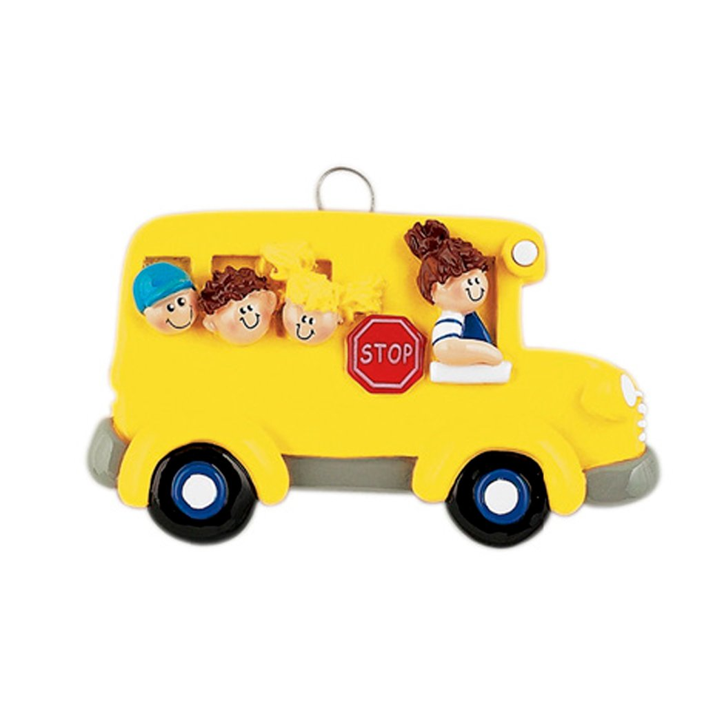 Personalized School Bus Christmas Ornament - Best Brunette Female Driver with Students in Yellow Transit - Children Love Brown Hair American First Day Worker Cute Kids Teacher - Free Customization