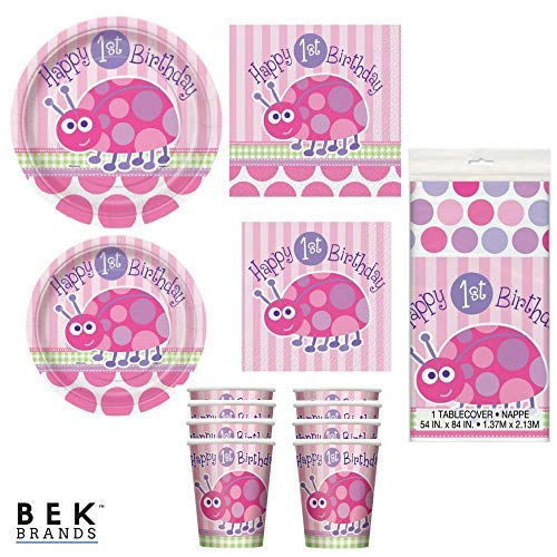 Bek Brands Ladybug First Birthday Party Supply Set | Plates, Napkins, Cups, and Tablecover - 57 pcs! 1st Bday Girl -