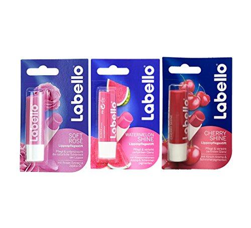 Labello Soft Rose, Labello Watermelon Shine, Labello Cherry Shine Lip Balm Bundle - Cherry Bundle