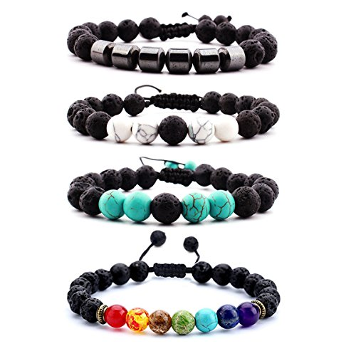 (7 Chakras Natural Stone Healing Bracelets Set Balancing Adjustable Calm Lava Rock Essential Oil Diffuser GemStone Diffuser Aromatherapy)