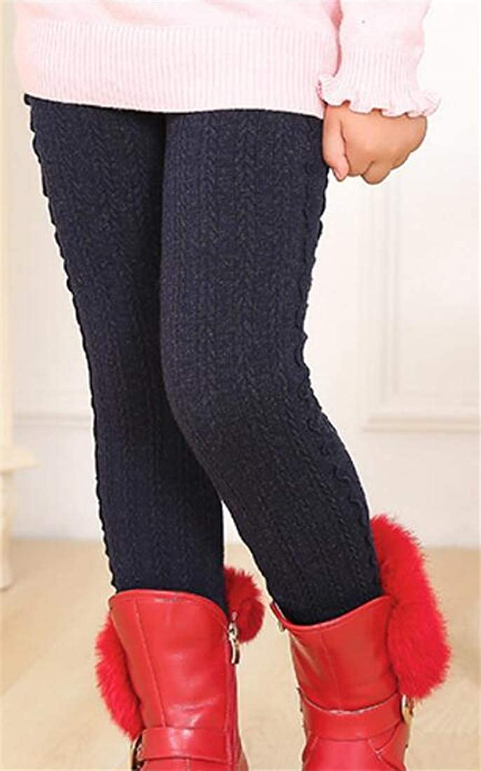Pcutrone Girl Elastic Waist Peplum Cable Knit Tight Stretchy Leggings