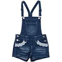 Fashion2Love GDP-17-37798B - Girls' 5 Pockets Denim Jeans Jumpsuit Overalls Shorts