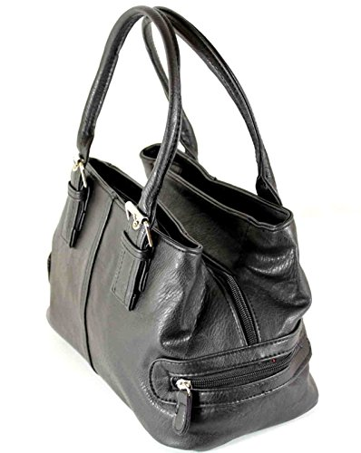 Ladies Shoulder Compartments 2 Zipped Bag New Faux Leather Handbag p74wwq6P