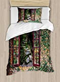Ambesonne Country Duvet Cover Set Twin Size, House with Open Windows Inside Forest Design View Brick Wall with Ivy Rural Print, Decorative 2 Piece Bedding Set with 1 Pillow Sham, Multicolor