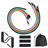 Peyou Resistance Bands Set, [5 Stackable Exercise Bands][Waterproof Carrying Case] Fitness Door Anchor Attachment,Foam Handles,Ankle Straps,for Sports&Outdoors Home Workouts -100% Life Time Guarantee