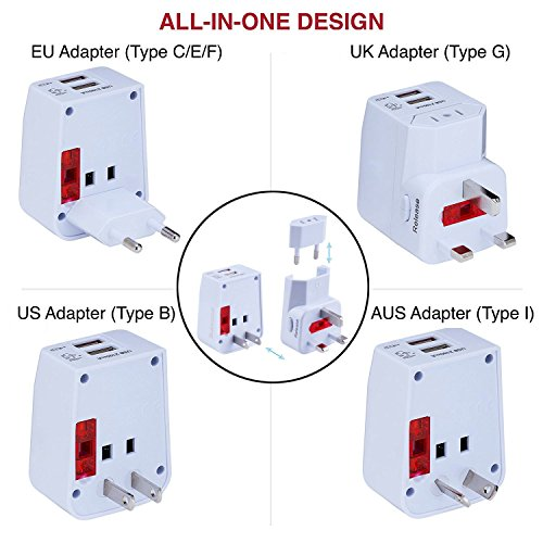 Rdxone Universal World Travel Adapter with 2 USB- Europe, Italy, Ireland, UK, US Plug Adapter- Over 150 Countries& Travel Power Converter Adapter Wall Charger Plug Kit for iPhone, Android (White) Photo #5