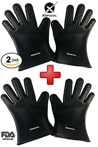 Extreme Xxl Bars - Cooking Gloves Gift Set > Kitchen Gloves Heat Resistant > Best for Protecting your Hands and Wrists Barbecue, Grilling, Baking, Indoor, Outdoor (2, Pairs Black Silicone Gloves,Individually Packages)