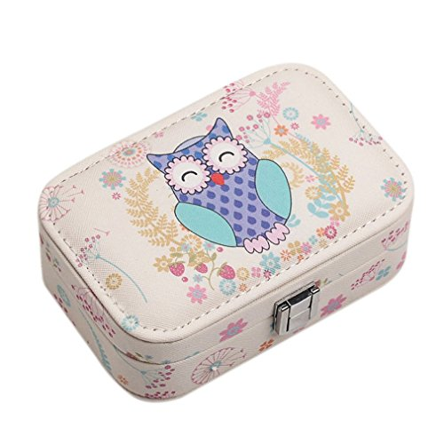 02 Leather Carrying Case - Owl Pattern Travel Jewelry Box Portable Leather Carrying Case Jewelry Organizer Storage Display Packaging Casket 02