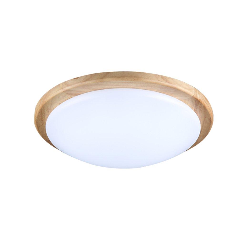 Wandun Deckenleuchte Japanische Tatami Massivholz Runden Deckenleuchten Acryl Lampe Abdeckung Schlafzimmer Wohnzimmer Gang Balkon Licht (Farbe   weißes Licht, Größe   40CM 18W)