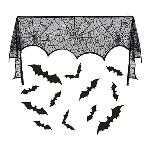 Dazonge Halloween Fireplace Mantle Scarf Black Cobweb Lace Runners for Fireplace Decorations (12pcs Bats Wall Decal Stickers Included)