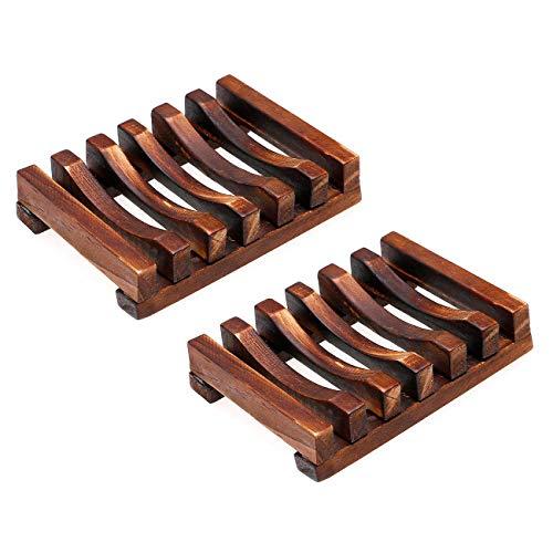 (Ogrmar Bath Accessories Natural Wood Soap Dish/Soap Holder 2 PCS (2))