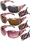 VertX Women's Pink Camouflage Sunglasses Rhinestone w/Free Camo Microfiber Pouch