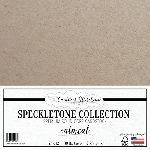 Oatmeal TAN SPECKLETONE Recycled Cardstock Paper - 12 x 12 inch - Premium 80 LB. Cover - 25 -