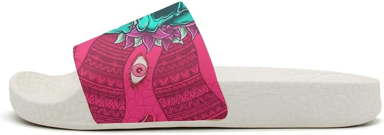 Mens Slides Shoes Cool Psychedelic Art Skull red Evil Eye Sandal EVA Bathroom Slippers