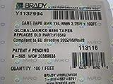Brady 113116 GlobalMark 100' Length x 2.25'' Width, B-595 Vinyl, Yellow Indoor/Outdoor Tape