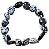 CHARGED Snowflake Obsidian Crystal Bracelet Polished Stretchy (PERFECT GROUNDING CRYSTAL - PROMOTES SELF-ESTEEM, CONFIDENCE, COURAGE - DISSOLVES ANGER & FEAR) HEALING ENERGY REIKI by ZENERGY GEMS