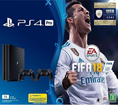 Sony PlayStation 4 Pro 1TB with 2 DUALSHOCK 4 Controllers, FIFA 18 Bundle – Black