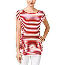 Cable & Gauge Womens Striped Ruched Casual Top White L