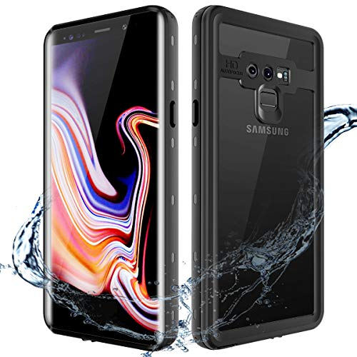 XBK Samsung Galaxy Note 9 Waterproof Case, Waterproof Shockproof Cover Case Built-in Screen Protector, Full Body Protect Clear Case Samsung Note 9 (Black)