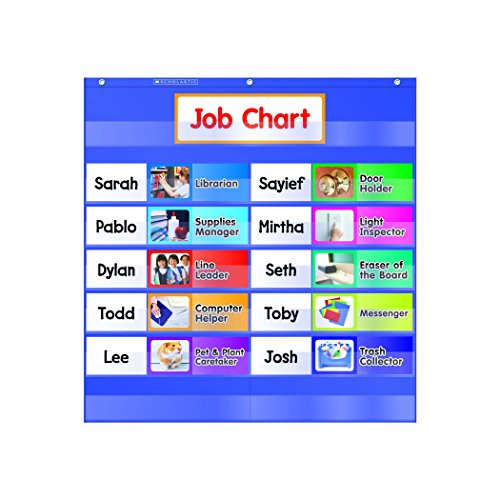 Helping Hands Pocket Chart - Scholastic TF-5103 Class Jobs Pocket Chart with Cards (Pack of 15)