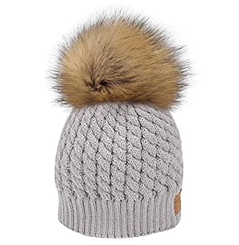 460910ae0b4 FURTALK Women Winter Knitted Pom Beanie Fur Hat Big Pom Pom Hat Women  Crochet Knit Bobble