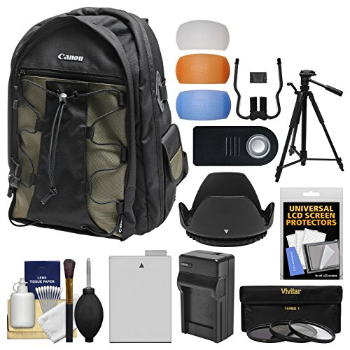 Canon 200EG Deluxe Digital SLR Camera Backpack Case with LP-E8 Battery + Tripod + Filters + Kit for Rebel T3i, T4i, T5i & 18-135mm IS Lens by Canon