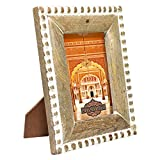 Indian Heritage Wooden Photo Frame 5x7 Dark Mango Wood Beads Carving Design in Natural Wood Color and White Distress Finish