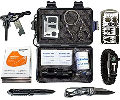 Emergency Survival Kit - Outdoor Gear, Gadgets, and Survival Tools. Gifts for Men. Hiking, Camping, and Backpacking Essentials. Bug Out and Prepper Supplies. from GoloGuide