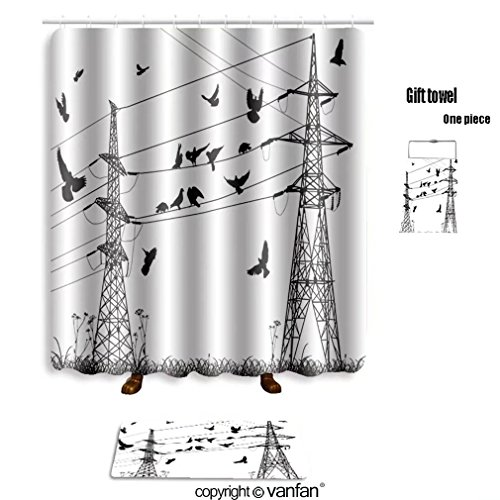 vanfan bath sets with Polyester rugs and shower curtain illustration with electrical pylons and birds shower curtains sets bathroom 60 x 72 inches&23.6 x 15.7 inches(Free 1 towel and 12 hooks)
