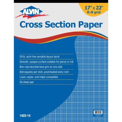 Alvin 1422-14 Cross Section Paper Pad; 8' x 8' Grid; 17' x 22' Pad, 50 Sheets per Pad