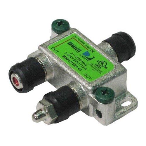 MSPLIT2 2-Way Signal Splitter Approved SWM Splitter Satellite 2 - 2150 MHz Splitter One Port DC Path Indoor/Outdoor SWM 1 Input 2 Output High Isolation Slimline Satellite Splitter Video 75 (Isolation Cable Splitter)