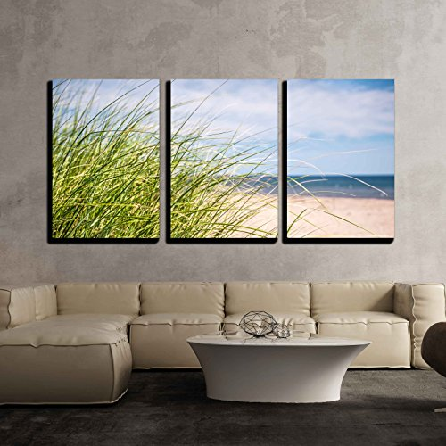 (wall26 - 3 Piece Canvas Wall Art - Grass Growing on Sandy Beach at Atlantic Coast of Prince Edward Island, Canada - Modern Home Decor Stretched and Framed Ready to Hang - 16