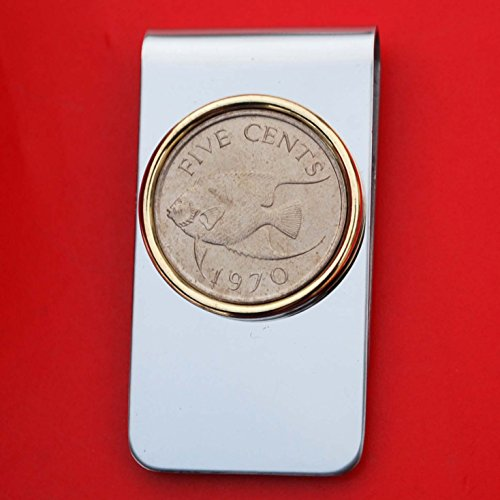 1970 Bermuda 5 Cent BU Uncirculated Coin Gold Silver Two Toned Stainless Steel Money Clip New - Queen Angel Fish
