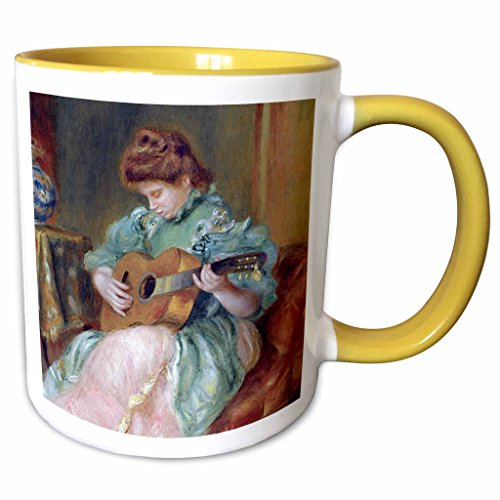 (3dRose BLN Music Featured in Fine Art Collection - Femme a la Guitare 1896 by Pierre Auguste Renoir Woman Playing Guitar - 15oz Two-Tone Yellow Mug (mug_171351_13))