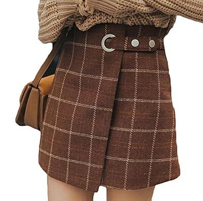 wenxuan Women's Retro High Waist Plaid A-Line Mini Skirt.